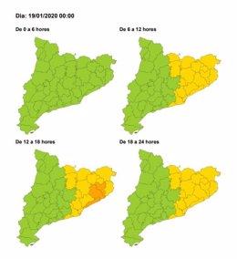 Mapa de risc per fort vent a Catalunya el 19 de gener del 2020.