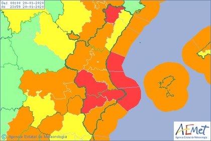 El interior de la Comunitat Valenciana estará en aviso rojo y naranja por nieve este domingo y lunes