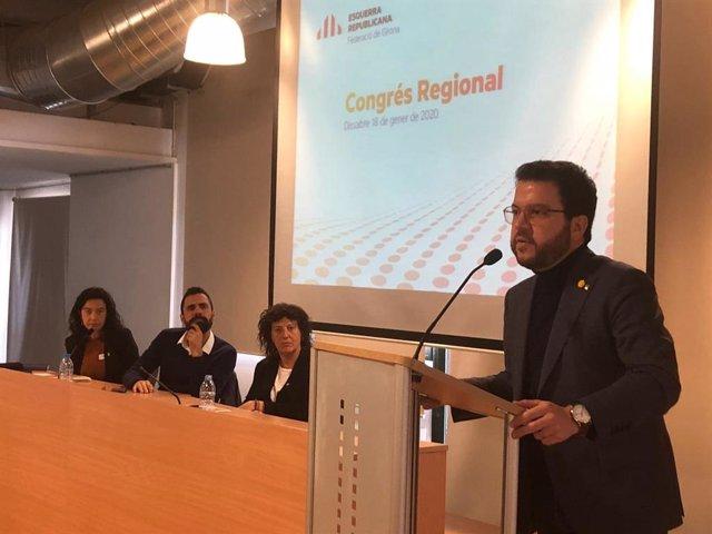 Intervención de Pere Aragonès en el congreso de la federación de ERC en Girona,