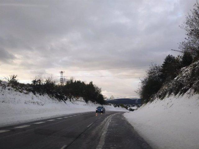 Vías asturianas afectadas por la nieve.