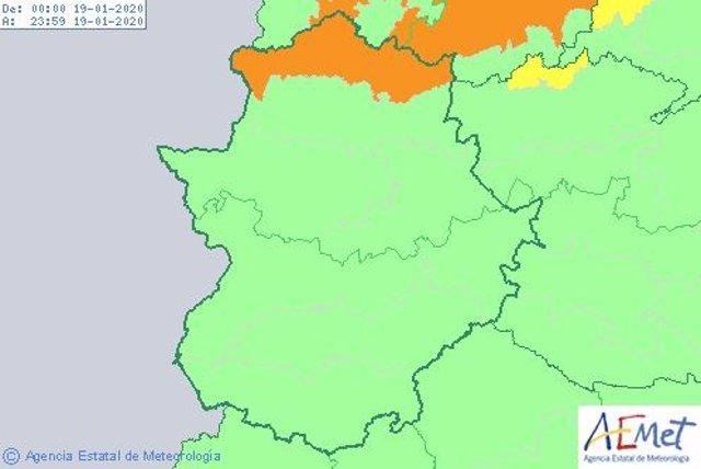 Aviso naranja por vientos en el Norte de Cáceres