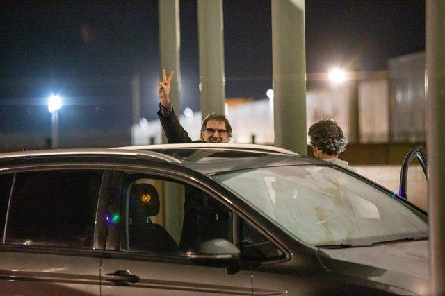 Jordi Cuixart sale de la cárcel de Lledoners por su primer permiso penitenciario, el 16 de enero de 2020.