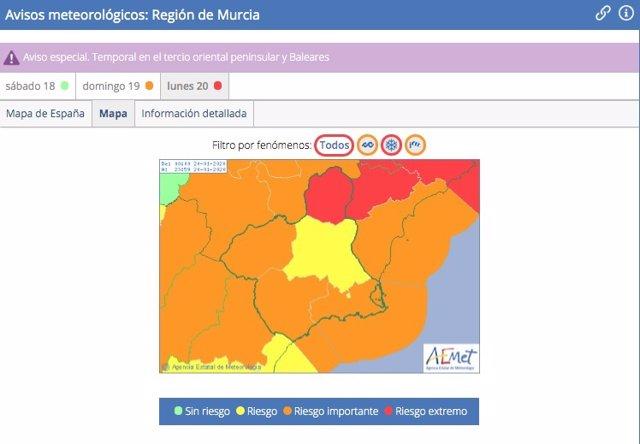 Mapa de alertas meteorológicas de la Aemet para la Región de Murcia