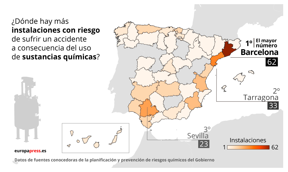 Mapa de instalaciones con riesgo por sustancias químicas en España por provincias