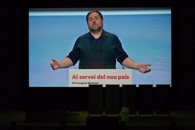 Imatge d'Oriol Junqueras en el 28 Congrés Nacional d'ERC.