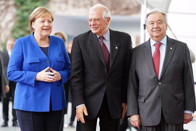 Angela Merkel, Josep Borrell i António Guterres.