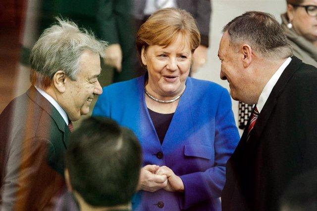 Angela Merkel, António Guterres y Mike Pompeo en Berlín