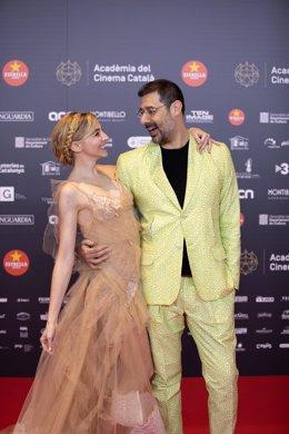 El director artístic i la presentadora de la gala dels XII Premis Gaudí de l'Acadèmia del Cinema Català Jordi Prat i Anna Moliner