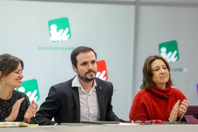 El coordinador federal de Izquierda Unida, Alberto Garzón (c), expone su informe político en la reunión de la Coordinadora Federal en Madrid (España) a 11 de enero de 2020