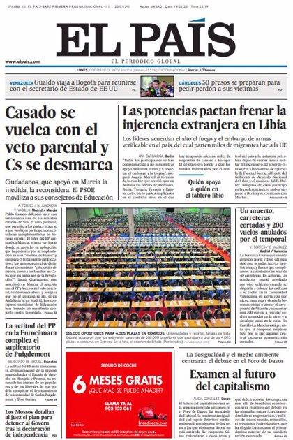 Las portadas de los periódicos del lunes 20 de enero de 2020