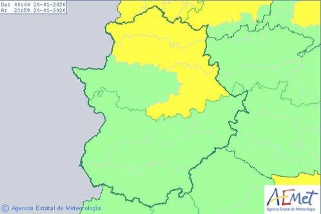 Avisos amarillos por viento en la provincia de Cáceres