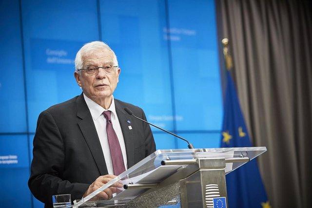 Josep Borrell, en rueda de prensa en Bruselas
