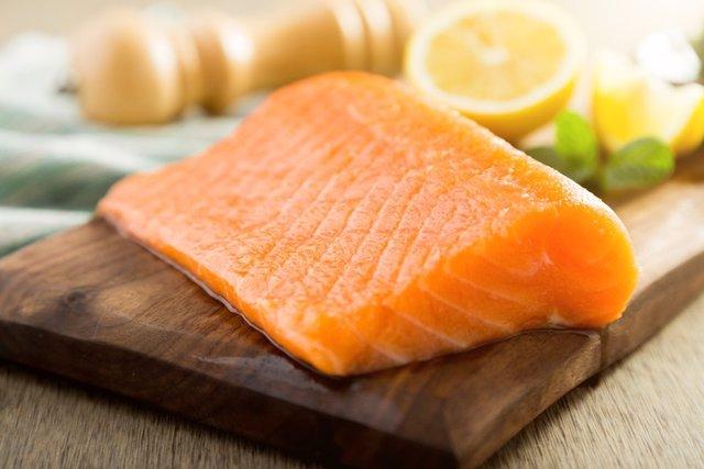 Salmon fish steck on the cutting board