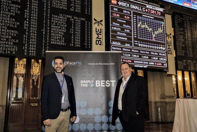 Javier Mira y Salvador Martí, consejero delegado y presidente de Facephi, respectivamente, en un acto en la Bolsa de Madrid