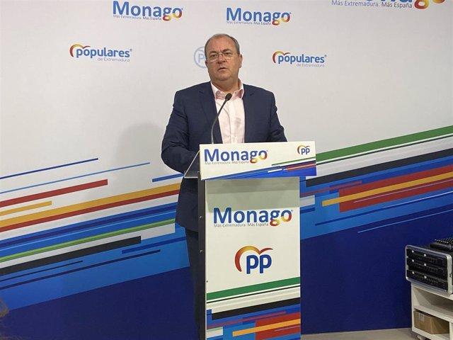 El presidente del Partido Popular de Extremadura, José Antonio Monago