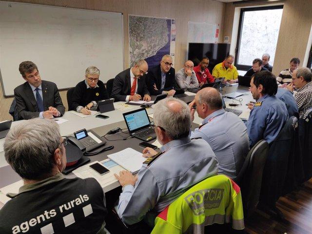 El conseller d'Interior, Miquel Buch, presideix la reunió del comitè tècnic dels plans Neucat, Inuncat i Ventcat pel temporal a Catalunya.