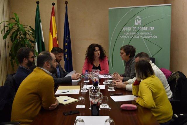 La consejera de Igualdad, Rocío Ruiz, en la reunión que ha mantenido este lunes con asociaciones del colectivo Lgtbi sobre el pin parental en la educación andaluza.