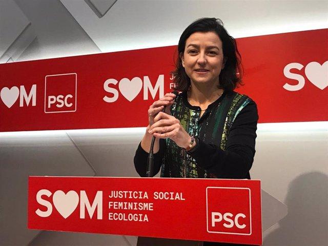 Portavoz del PSC en el Parlament, Eva Granados, en rueda de prensa del 20 de enero de 2020.