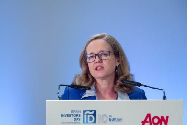 La vicepresidenta de Economía y Transformación Digital, Nadia Calviño durante su intervención en la segunda y última jornada 'Spain Investors Day' en el Hotel Intercontinental, en Madrid (España), a 15 de enero de 2020.