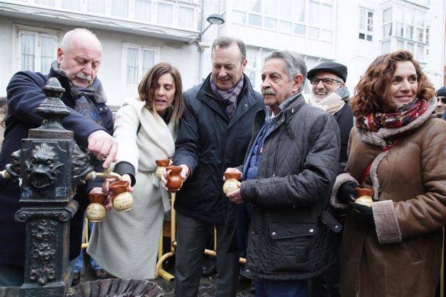 El alcalde de Reinosa, los consejeros de Presidencia, Medio Ambiente y Empleo y el presidente de Cantabria en el Día de San Sebastián en Reinosa