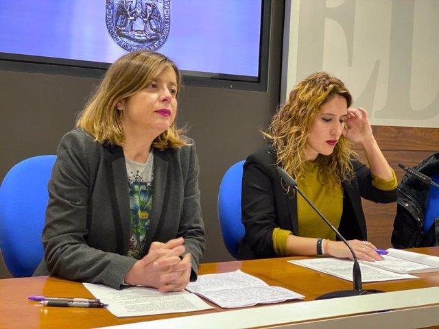 La portavoz de Somos Oviedo, Ana Taboada, y la edil Anabel Santiago.