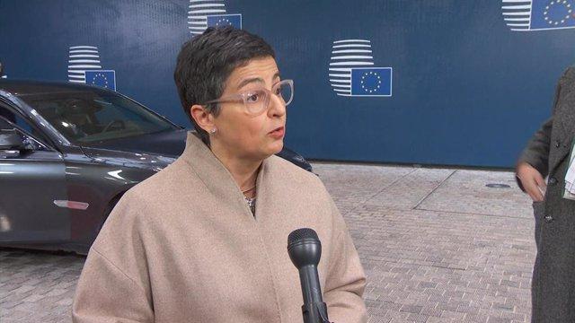 La ministra de Asuntos Exteriores, UE y Cooperación, Arancha González Laya, en Bruselas.