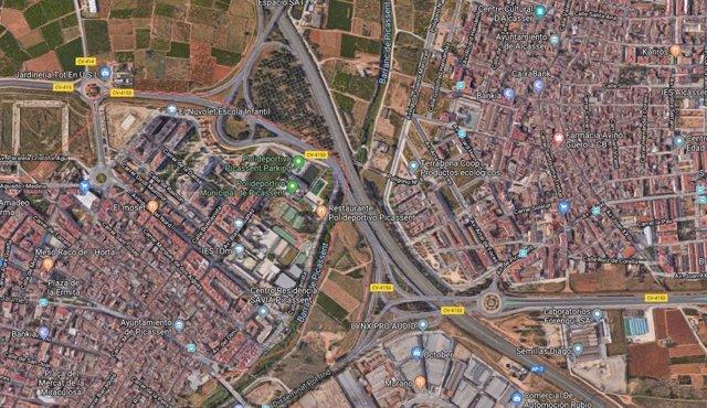 La A-7 a la altura de Picassent (Valencia)