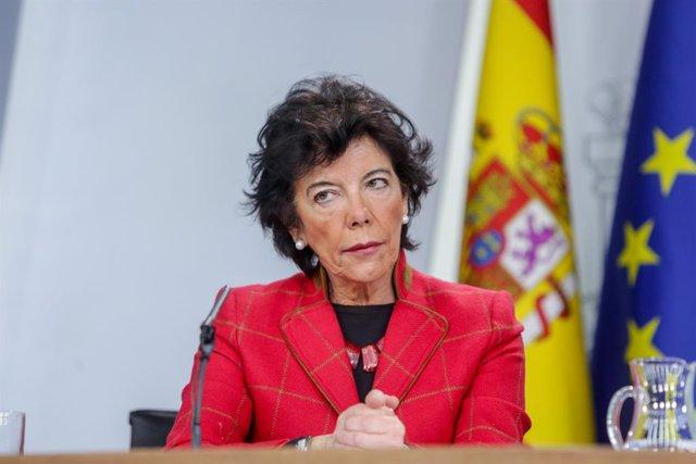 La ministra d'Educació i Formació Professional, Isabel Celaá, divendres passat en la roda de premsa posterior al Consell de Ministres.