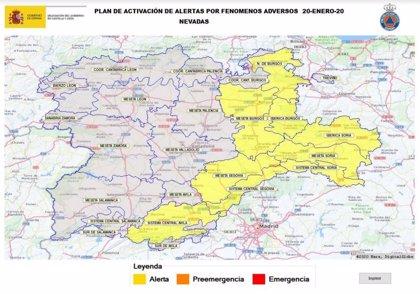 Activada la fase de alerta por nieve en Burgos y Soria por acumulaciones de hasta 10 centímetros