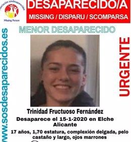 La menor de 17 años a la que se busca desde el pasado miércoles 15 de enero.