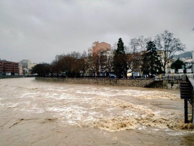 Crescuda del riu Onyar per la borrasca Glòria a Girona, el 21 de gener del 2020.