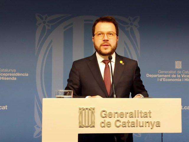 El vicepresident del Govern, Pere Aragons, en roda de premsa, el 20 de gener del 2020.