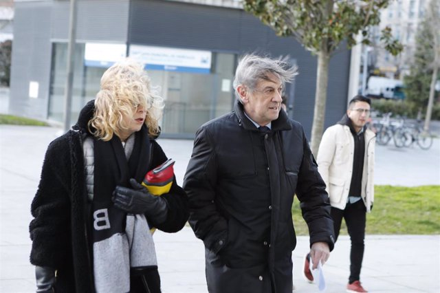 El ex presidente del Club de Fútbol Osasuna, Miguel Archanco, a su llegada al Palacio de Justicia de Pamplona, donde se celebra el juicio por  supuestos amaños de partidos en la temporada 2013-2014, en Pamplona /Navarra, a 20 de enero de 2020.