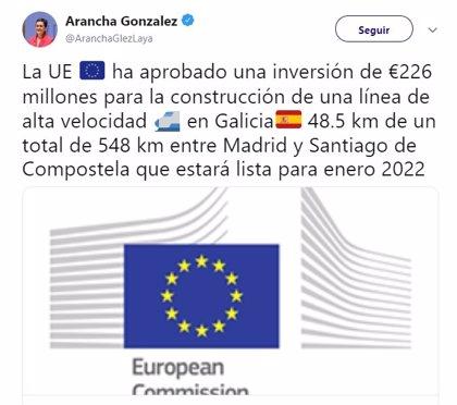 Un tuit de la ministra de Exteriores reaviva la polémica sobre los plazos del AVE