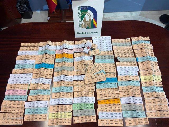 Lotería ilegal incautada por la Policía Adscrita en Arcos de la Frontera