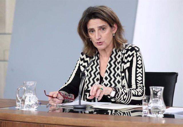 La vicepresidenta de Transición Ecológica, Teresa Ribera, comparece en rueda de prensa ante los medios de comunicación tras el primer Consejo de Ministros celebrado en martes en Moncloa, Madrid (España), a 21 de enero de 2020.