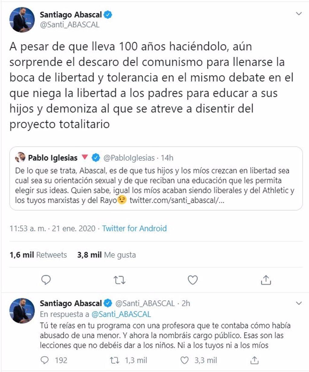 Abascal se enzarza con Iglesias por el 'pin parental' y le