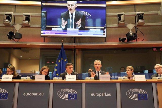 Jens Stoltenberg, secretario general de la OTAN, interviene en la comisión de Exteriores de la Eurocámara