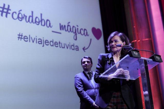 La vicepresidenta primera del Gobierno, ministra de la Presidencia, Relaciones con las Cortes y Memoria Democrática, Carmen Calvo, interviene en el acto de presentación de 'Córdoba es más', en el marco de FITUR 2020 el 21 de enero de 2020