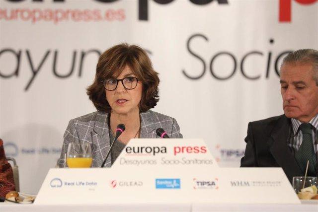 La consejera de Salud del Gobierno vasco, Nekane Murga, durante su intervención en el desayuno socio-sanitario de Europa Press, en Madrid (España), a 22 de enero de 2020.