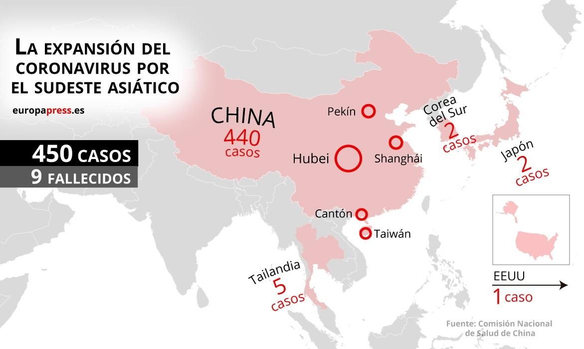 Datos mundiales afectados por el nuevo coronavirus