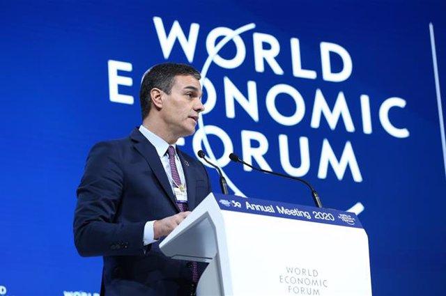 El  presidente del Gobierno, Pedro Sánchez durante su intervención en el Foro Económico Mundial, en Davos (Suiza), a 22 de enero de 2020.