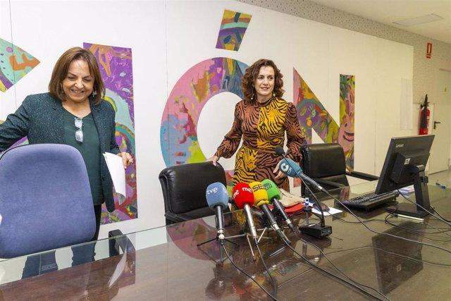 La consejera de Empleo y Políticas Sociales, Ana Belén Álvarez, presenta un diagnóstico del sistema de dependencia junto a la directora del ICASS, María Antonia Mora, y el director general de Políticas Sociales, Julio Soto