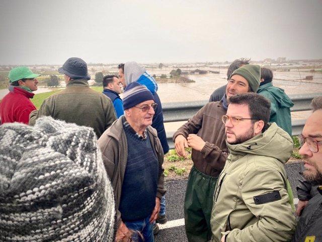 El vicepresident, Pere Aragonès, visita Palafolls després dels danys causats pel temporal