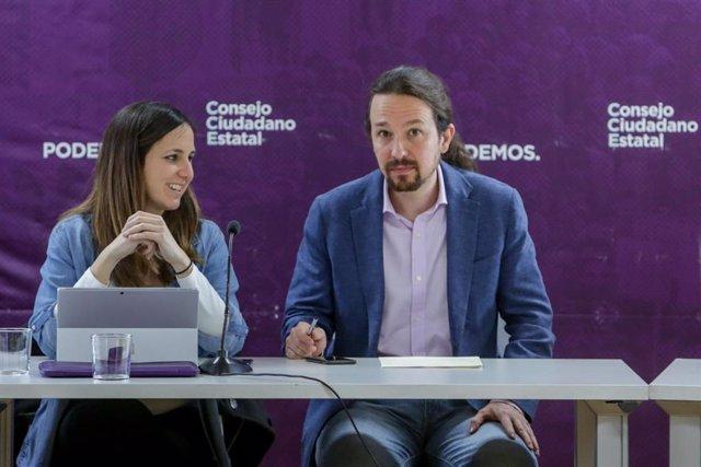 El secretario general de Podemos y vicepresidente de Derechos Sociales y Agenda 2030 del Gobierno, Pablo Iglesias, y la portavoz adjunta de Unidas Podemos en el Congreso, Ione Belarra, durante la reunión del Consejo Ciudadano Estatal (CCE) de Podemos dond