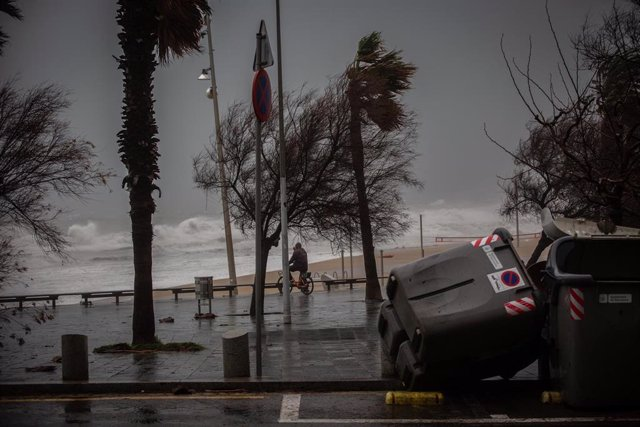 Varios contenedores caídos el paseo marítimo de Barcelona, donde la borrasca 'Gloria' ha dejado fuertes rachas de viento y lluvia, a 21 de enero de 2020.