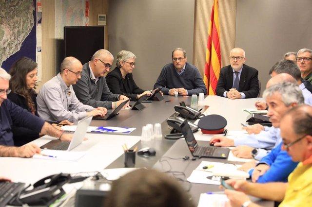 El president de la Generalitat, Quim Torra, en la reunió del Cecat.