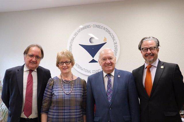 Rafael Lletget, jefe de Gabinete del CGE; Annette Kennedy, presidenta del CIE; Florentino Pérez Raya, presidente del CGE y Howard Catton, director general del CIE