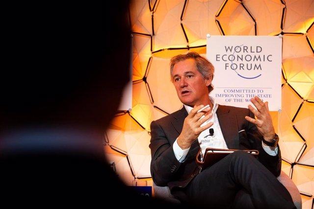 El presidende de Acciona, José Manuel Entrecanales, durante su intervención en Davos