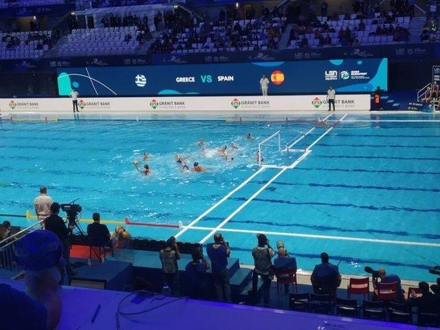 La selección española femenina de waterpolo ante Grecia en el Europeo
